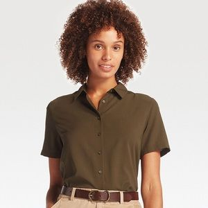 Uniqlo short sleeve rayon button top shirt olive